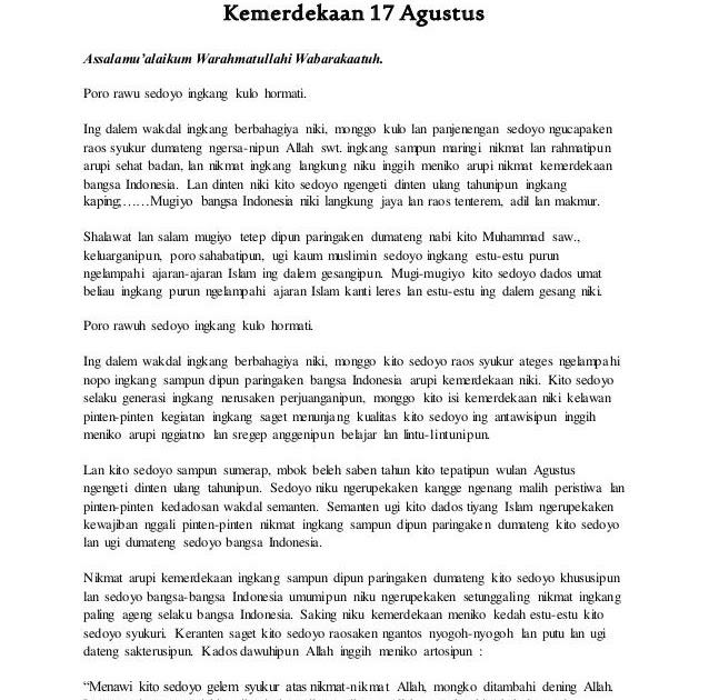 Contoh Pidato Dalam Bahasa Sunda Tentang 17 Agustus