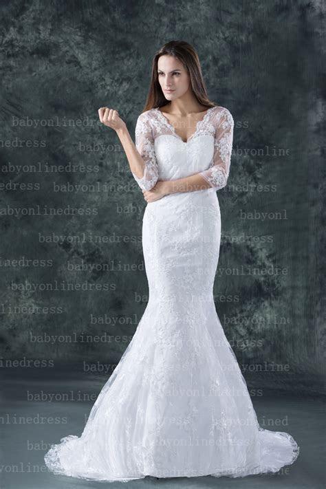 2019 New Lace Wedding Dresses Sheath/Column Half Sleeve V