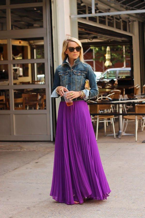 Atlantic-Pacific | jean jacket + purple maxi skirt