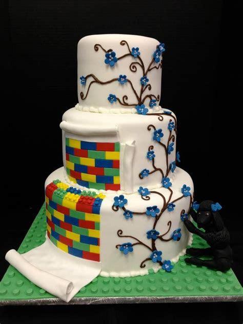Fun lego and vine detail wedding cake!  Jo's Custom Cakes