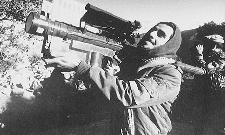 Afghan guerrilla with US-made Stinger anti-aircraft missile in the late 1980s
