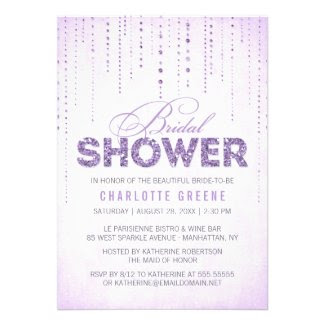 Sparkly Lavender Glitter Bridal Shower Invitation