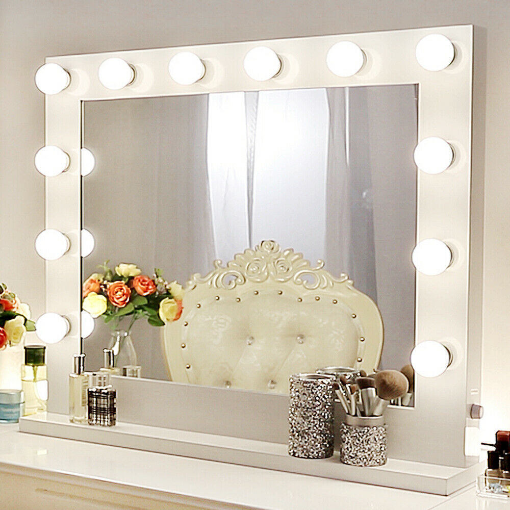 White Hollywood Makeup Vanity Mirror with Light Stage ...