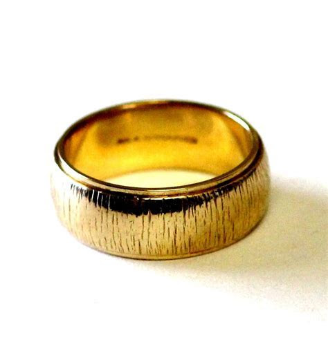 14K yellow gold 6.74mm wide womens wedding band ring