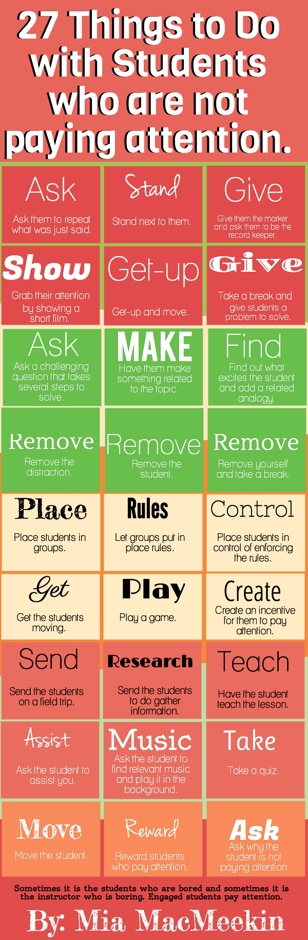 27 Ways To Grab Attention Of Boring Students : infographic, 27 things to do with students