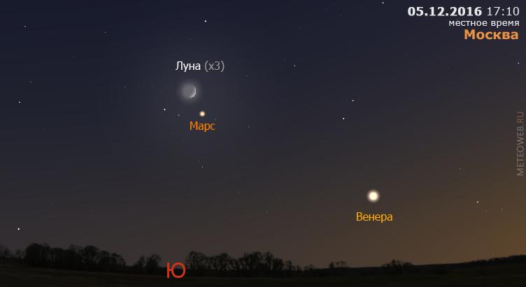 Растущая Луна, Венера и Марс на вечернем небе Москвы 5 декабря 2016 г.