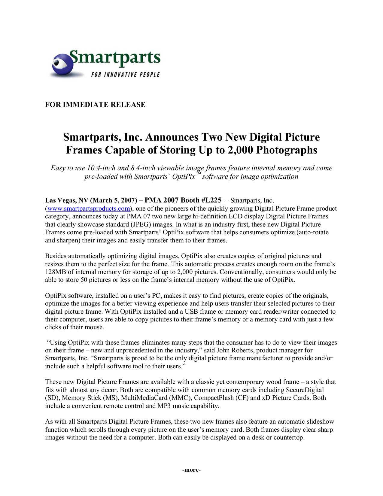 Download Free Pdf For Smartparts Spdpf84m Digital Photo Frame Manual