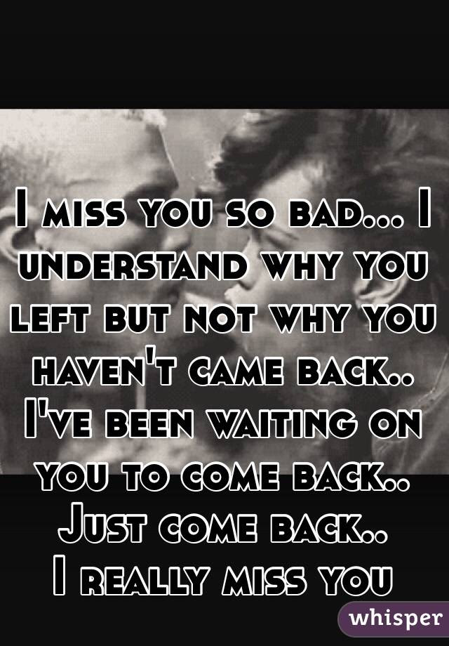 I Miss You So Bad I Understand Why You Left But Not Why You Havent