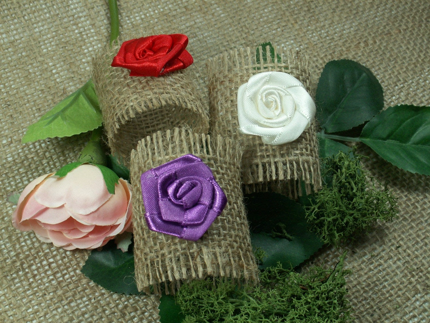 Rustic Style Rustic 12 Burlap Napkin Rings with Rose , Wedding Decor , Country Wedding