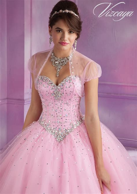 Stylish Tulle Quinceañera Dress with Beading   Style 89017