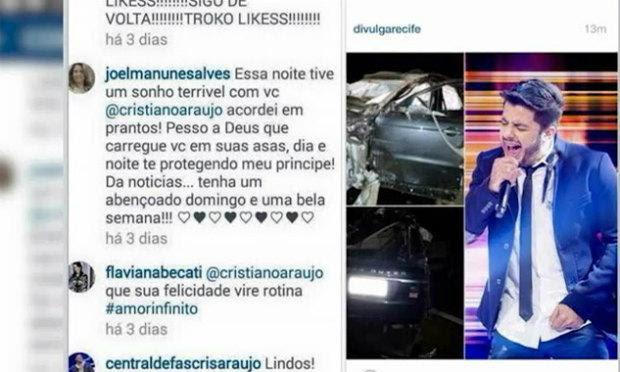 Postagem foi realizada dias antes do acidente que matou o cantor / Foto: Reprodução/TV Jornal.