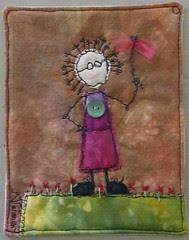 postcard: lady, green gras and wings :: damen, grønt gress og vinger