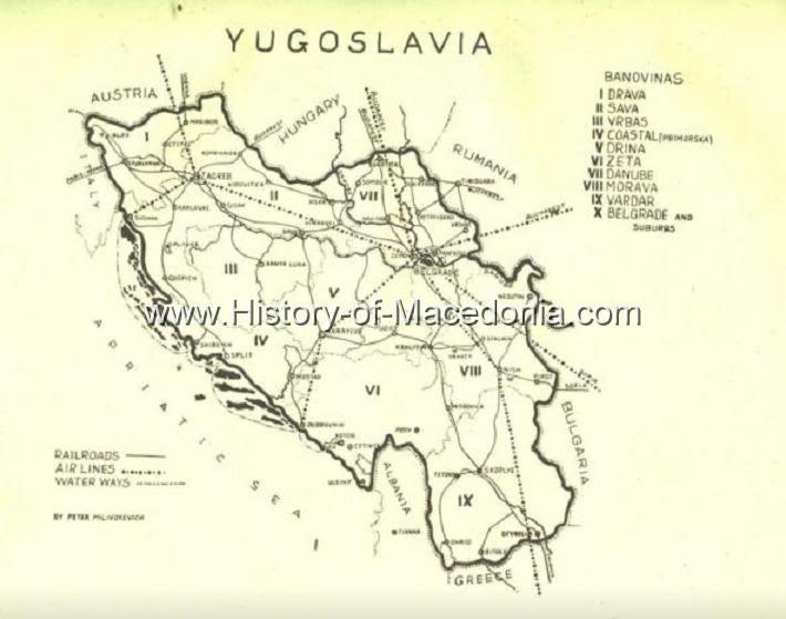 angloyugoslavreview H Βαρντάρσκα Μπανόβινα σε σπάνιους Γιουγκοσλαβικούς Χάρτες