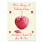 romantic love heart shaped candle valentine party 5x7 paper invitation card