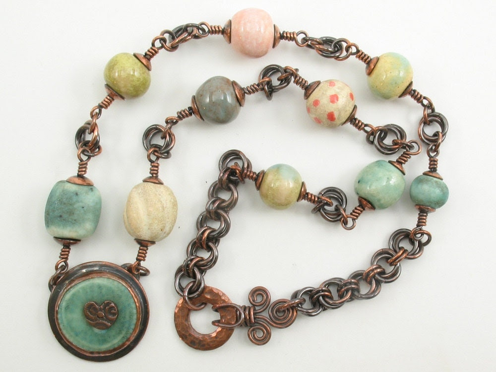 Ceramic Bead & Copper Necklace