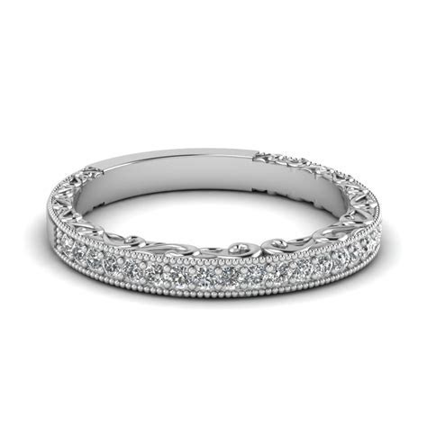 Milgrain Hand Engraved Diamond Wedding Band In 14K White