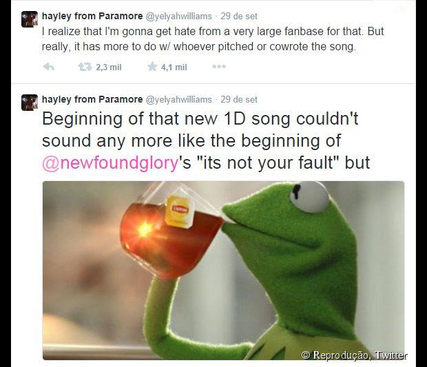 Hayley Williams acusa One Direction de plagiar música do New Found Glory no Twitter