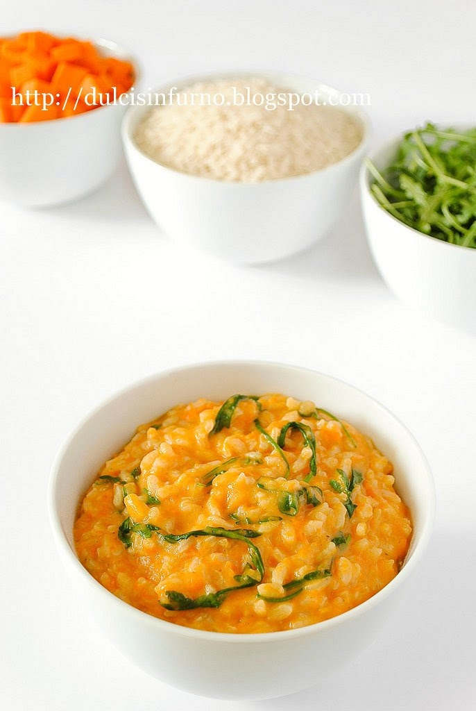 Risotto con Zucca e Rucola-Risotto with Pumpkin and Rocket