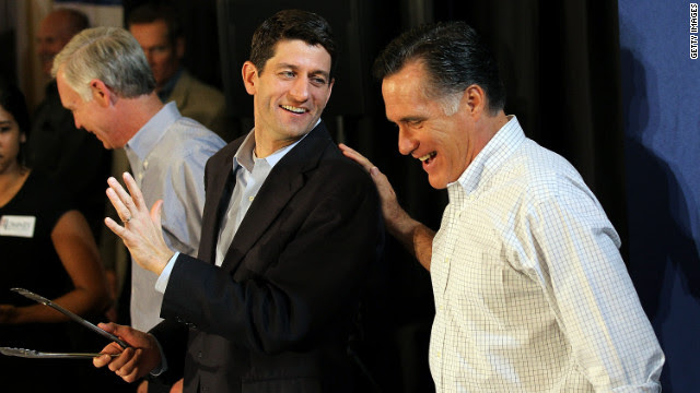 Presumptive Republican presidential nominee Mitt Romney, right, jokes with U.S. Rep. Paul Ryan of Wisconsin in April during a pancake brunch at Bluemound Gardens in Milwaukee.