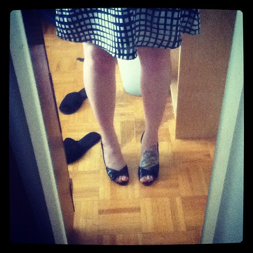 Home from the wedding. Goodbye heels.