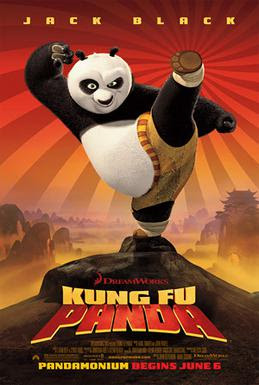 Kung Fu Panda film poster, with Po in the middle.