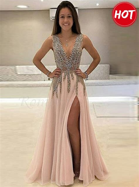 deep  neck pink slit legs beaded gorgeous prom dress