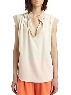 Rebecca Taylor Silk Two-Tone Blouse