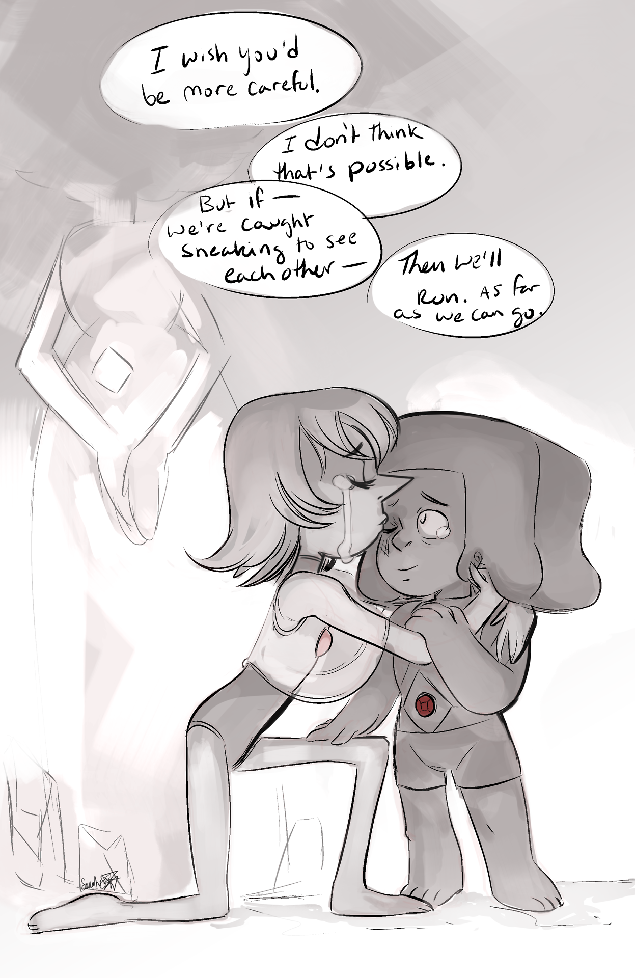 Some more rhodonite pearl and ruby- I imagine they had to sneak around in shadowy corners to see each other, and the idea to even fuse was late in their forbidden romance. but I bet running away was...