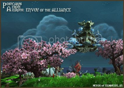 Rioriel and Nevik's daily World of Warcraft screenshot presentation of significant locations, players, memorable characters and events, assembled in the style of a series of collectible postcards. -- Postcards of Azeroth: Envoy of the Alliance