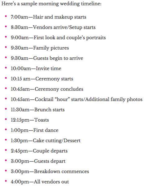 Sample Timeline for an early morning wedding & brunch