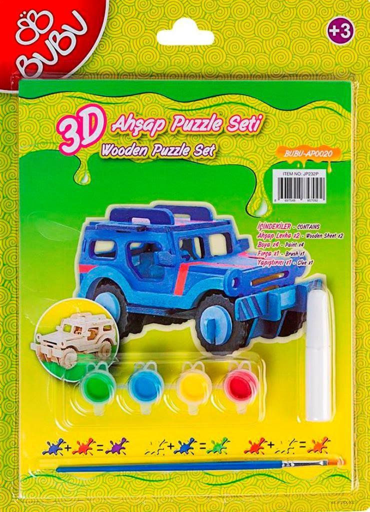 Bubu 3d Ahşap Maket Puzzle Boyama Seti Jeep Bubu Bbap0020