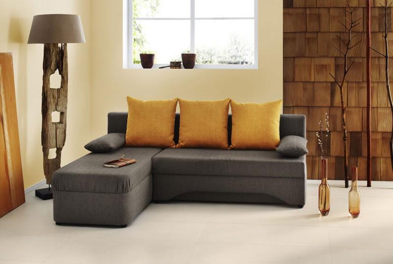 Ecksofa 191x142cm hellbraun oragne Schlafsofa Couch Sofa ...