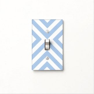 Light Blue and White Chevrons Switch Plate Cover