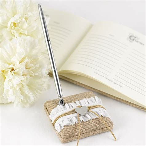 Rustic Romance Burlap Guest Book Pen Set