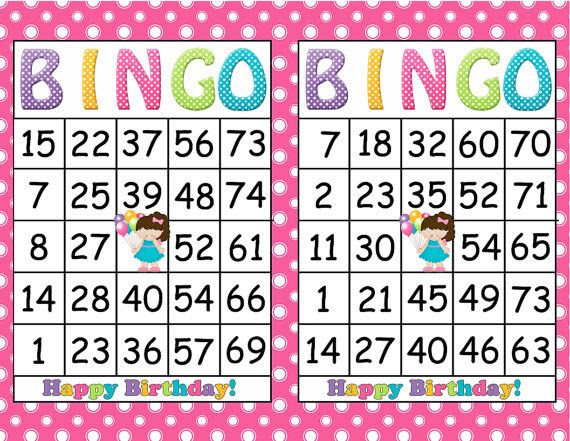 Printable Bingo Birthday Girl Party Game- INSTANT DOWNLOAD - 30 ...