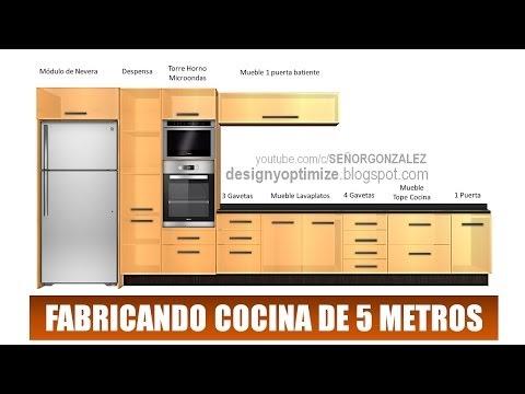 Dise o de muebles madera fabricando cocina de 5 metros for Cocinas lineales de cuatro metros