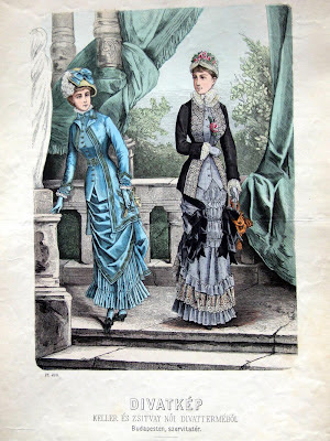 Coloured engravings of 2 women - 1870s