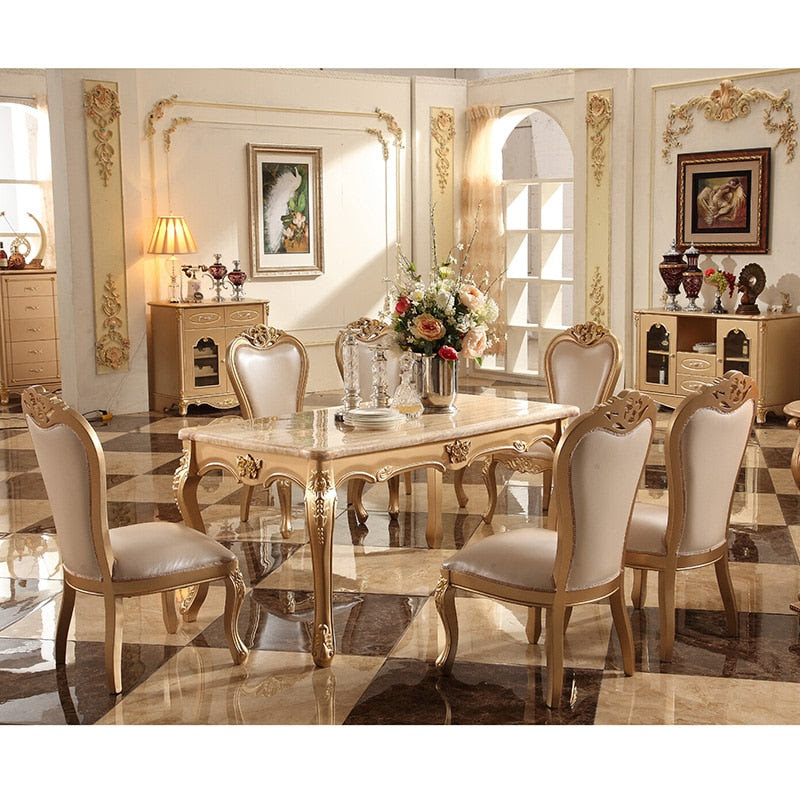New Design 6 Seater Marble Top Solid Wood Leg Dining Table Set Jyards