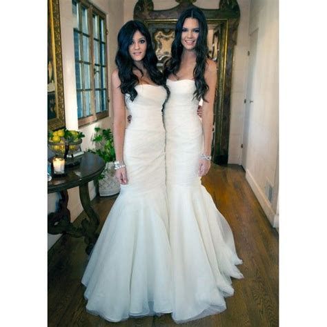 Kardashian Sisters White Strapless Mermaid Bridesmaid