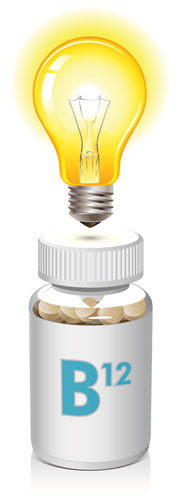 A light bulb and vitamin B12 bottle