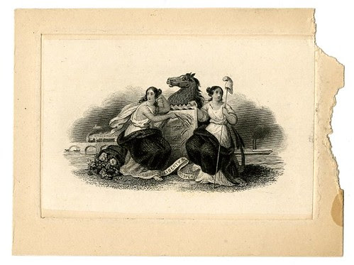 Two female figures at centre. Horse in the background. Design printed in black. (19th c)