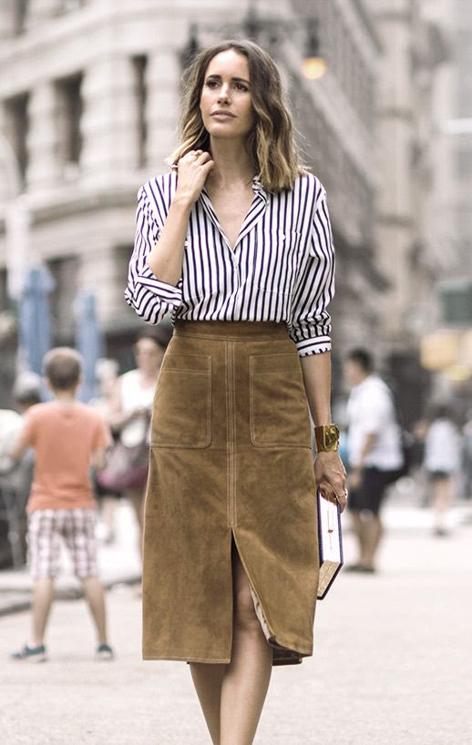 Le Fashion Blog 25 Ways To Wear A Striped Button Down Shirt Suede Tan Skirt Louise Roe Via Garance Dore High Waisted Street Style