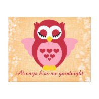 Nursery Quote with Sleepy Angel Owl Gallery Wrap Canvas