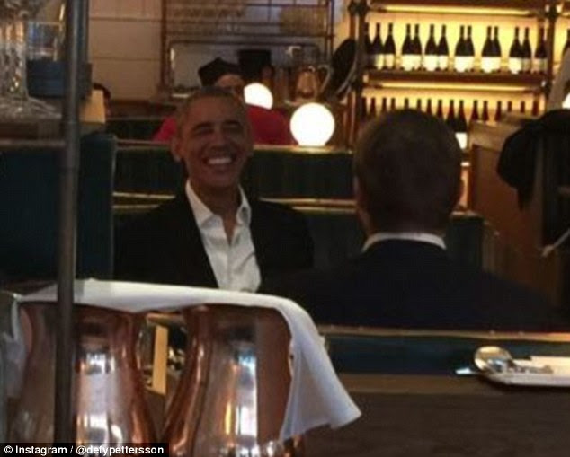 Out and about: Barack Obama was out to lunch at Uplands in new York City on Friday (above)