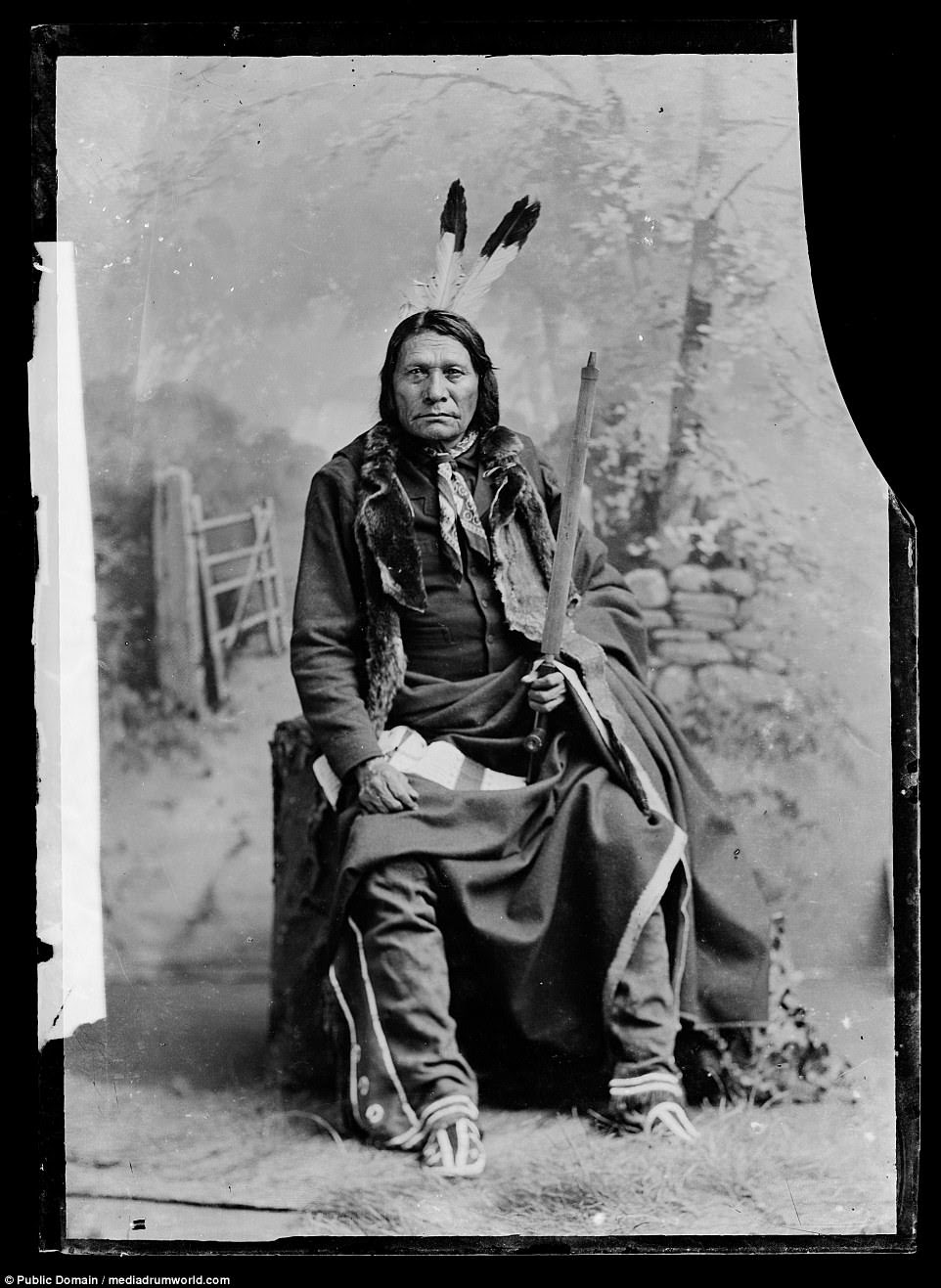 Big Road, a Lakota leader, in 1899. The majority of Native American peoples were forced to accept lives on reservations