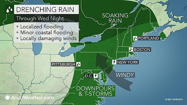 WeatherFanatics: Rain, Gusty Winds to Soak Philadelphia, NYC