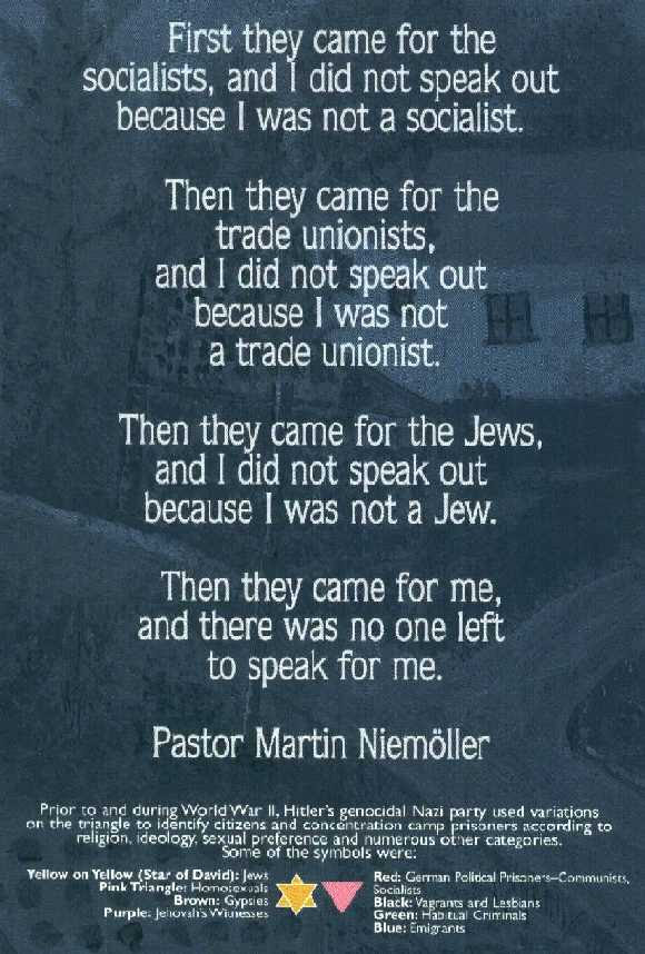 Niemöller Origin Of Famous Quotation First They Came For The