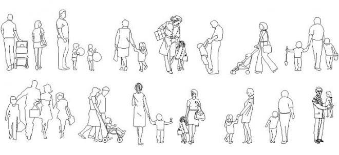 çocuklu Insan çizimleri Autocad çocuklu Insan Tefrişleri Autocad