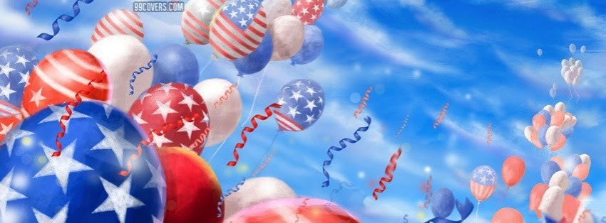 4th July Flag Balloons Facebook Cover Timeline Photo Banner For Fb