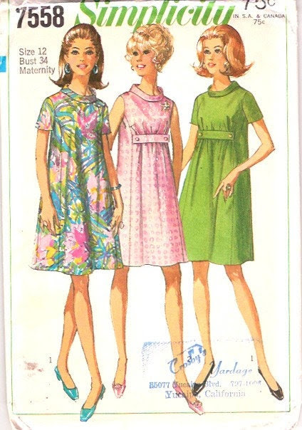 Vintage 60s Empire Waist Maternity Tent Dress Pattern 34 bust size 12 Simplicity 7558